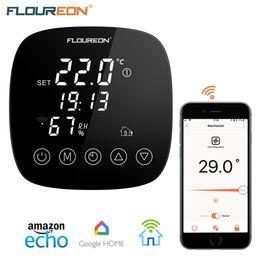 Pavimenti riscaldati online-Floureon Smart WiFi Termostato programmabile per riscaldamento a pavimento domestico Regolatore di temperatura APP Supporto con sensore di umidità