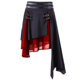 Falda de cuero de imitación de cintura alta online-Kenancy Faux Leather Chiffon Mujeres Faldas de Cintura Alta Contraste Asimétrico Falda Femenina Folk Layer Hebilla Moda Faldas Góticas Y190428