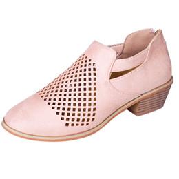 Zapatos de vestir de diseño Sagace Spring Nuevas mujeres Botas cortas Tobillo clásico ahueca hacia fuera la moda de cuero Sólido estilo romano punta redonda individual No30 desde fabricantes