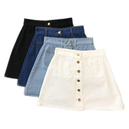 5576b5c132ab Summer Womens Ladies A-line Pencil Jeans Front Button High Waist Denim  Small Pockets Skirt Black White Four Colors C19040901