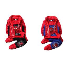 Trajes de spiderman para niños online-Spiderman Baby Boys Conjuntos de ropa Niños Cool Cotton Sport Traje Spiderman Cosplay Traje 3pcs Ropa de chándal