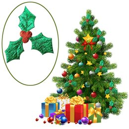 Suministros de decoración de frutas online-100pcs 3cm Red Fruit with Christmas Tree Decoration Supplies DIY Art Fabric Accessories Freeshipping