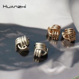 2020 orecchino tubolare HZ 2019 Avvolgimento vintage metallo dorato intrecciato geometrico tre tubi croce rame orecchini per le donne ragazza festa regalo regalo sconti orecchino tubolare