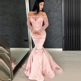 2019 vestidos de fiesta frontales divididos Rosa rosa del hombro sirena vestidos de baile 2020 con Listones de manga larga de barrido tren vestidos de noche formal del partido