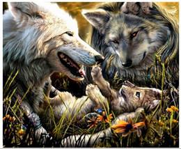fotos de lobo gratis Rebajas Diamante al por mayor Pintura Animal Escuchar Lobo 40x30 cm Diamante decorativo Resinstone Taladro cuadrado Pegado Imagen Envío gratis