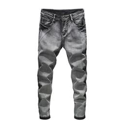 2019 новые джинсы 2020 бренд джинсовые новые мужские эластичные джинсы мужские эластичные хлопчатобумажные брюки Slim Fit джинсовые брюки мужская модная одежда носить 8 цветов дешево новые джинсы
