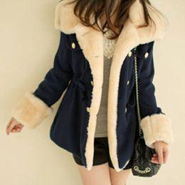Brasão Mulheres Winter manter aquecido lapela manga longa espessa cor sólida trespassado de lã casaco Plus Size Jacket de