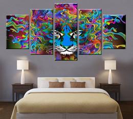 Murales floreali online-5 Animal pannello colorato tiger ritratto della testa della tela di canapa pittura poster arte della parete Soggiorno Camera da letto della decorazione della casa murale modulare