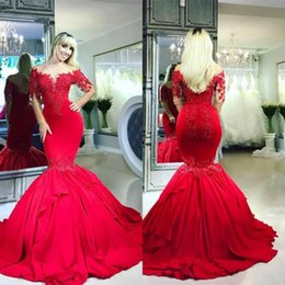 Vestes vermelhas baratas on-line-Dubai Red Mermaid Prom Vestidos mangas compridas apliques Jewel Neck Sheer Formal vestidos de festa Robe de sarau 2020 barato
