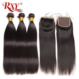 Canada RXY faisceaux de cheveux vierges brésiliens avec fermeture faisceaux de cheveux raides avec fermeture fermeture à lacets 4x4 avec faisceaux sans perte cheap hair sheds Offre