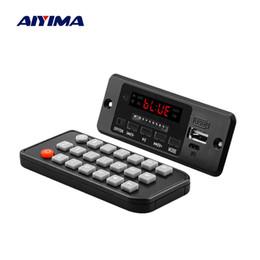2019 tablero del amplificador bluetooth 3 placa decodificadora bluetooth AIYIMA 5V Bluetooth 3 Placa decodificadora de audio con amplificador 3W * 2 Reproductor de MP3 AUX FM Llamadas manos libres tablero del amplificador bluetooth baratos