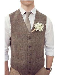 Trajes de campo online-2019 País Brown Chalecos de novio para la boda de lana Herringbone Tweed por encargo Slim Fit Mens Suit Chaleco vestido de fiesta de baile chaleco más el tamaño