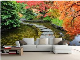 Fiori moderni viventi di carta da parati online-Bellissimi fiori romantico strada giardino e alberi sfondo parete sfondi soggiorno moderno