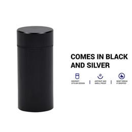 Boîtes de rangement en caoutchouc en Ligne-Boîte étanche à l'eau / airProof avec boîte à pilules Boîtier en caoutchouc étanche à l'air en aluminium argenté Cylindre étanche