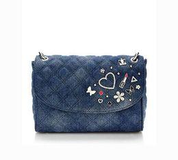 denim-diamanten mode Rabatt Neue Mode Marke Frauen Umhängetasche Denim Marke Handtasche kleine Umhängetaschen NWT Liebe Diamant-Design