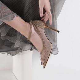 Canada Sparling Or Chaussures De Mariage À Talons Hauts 2019 Strass Perlé Femmes Chaussures Pour Occasion spéciale Peep Toe Pas Cher Chaussures De Mariage De Mariée Offre