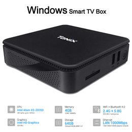 X5 spieler online-Windows / Linux Smart TV Box 4 GB 64 GB Mini-PC Intel Atom X5-Z8350 2,4 G 5 G Wifi Bluetooth HDMI VGA 3,5-mm-Buchse USB 3.0 Media Player TX85