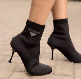 botines para mujer elásticos. Rebajas Hermana suave primavera botines mujeres nuevo estilo botas elásticas mujeres tubo corto cabeza redonda talón alto tacón alto calcetines calcetines botas