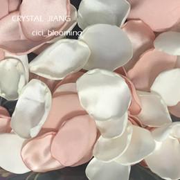 2019 piante di rose desertiche Petali di petali di raso romantico di pesca e lignt per matrimoni Petali di fiori morbidi di rose 100 pezzi / lotto