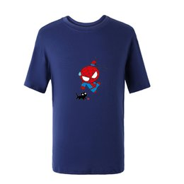 De dibujos animados camisetas del hombre araña online-Summer Spiderman American Anime T Shirt Superhero Mens Cute Cartoon Character Tshirts Spiderman Cute Cat Print Tee Plus Sizes