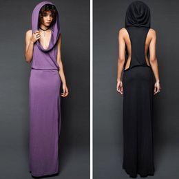 Vestidos medievales para mujer online-Vestido de vampiro de diseñador con gran sombrero Vestido sin mangas con abertura en la espalda con fugas sexy Vestidos de mujer de moda medieval 2019