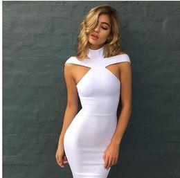 2019 blu linda New Bandage Dress 2018 Celebrity Evening Party Dress Vestidos Sexy al largo della spalla Halter Bianco rosso nero Club Abiti da donna