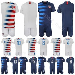 numbered soccer jerseys Promo Codes - Men Blue White Soccer 10 Christian Pulisic Jersey Set 2 DeAndre Yedlin 4 Robert Bradley Football Shirt Kits Uniform Custom Name Number