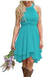 Canada Robes de demoiselle d'honneur pays élégant court turquoise demoiselle d'honneur robe haute bas cou licou ruché robes d'été boho mariage invité porter Offre