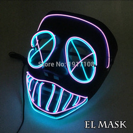 Néon led dj en Ligne-EL New Halloween Masque Clignotant El Fil Rougeoyant Masque Flexible Led Neon Light Pour La Danse Dj Bar Carnaval Parti Décoration