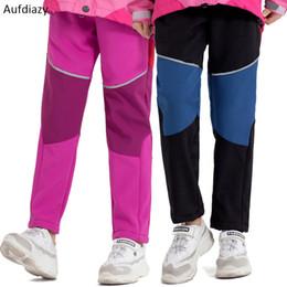 leggings juveniles Rebajas Aufdiazy Boys Girls Fleece Softshell Pantalones de senderismo Niños Invierno Leggings cálidos Jóvenes Niños Pantalones de trekking impermeables IT001