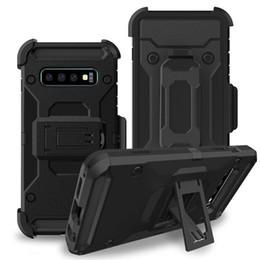 Fundas de plastico online-Clip híbrido a prueba de choques del cinturón de la caja de 360 grados para Iphone XR XS MAX X 8 7 6 6s Galaxy S10 S10e Kickstand armadura Plástico duro + funda de TPU