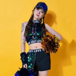 2020 vestiti da ballerini di hip hop Jazz Dance Costumes donne paillettes Hip Hop Street Dance performance Abbigliamento Cheerleader Rave Outfit Gogo Dancers Abbigliamento DC3473 vestiti da ballerini di hip hop economici