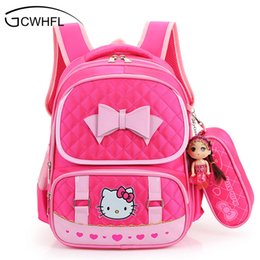 Discount kids backpack hello kitty - Hello Kitty School Backpacks For  Children Nylon Girls Princess School 04b1eb125a98a