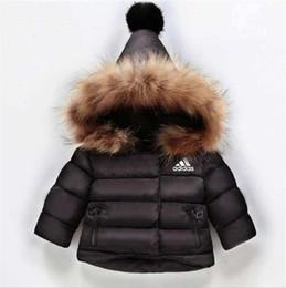 Niños niños abrigos de invierno online-AD 3 Stripes Logo Kids Coat Baby Boys Girls Winter Coat Size 1-6T Childrens Winter Coat Kids Down Cotton Abrigos Conejo Collar de pelo
