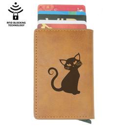 черный кошелек кошелек Скидка Держатель Классических мод Halloween Black Cat Rfid карты Мужчина бумажники Vintage Браун Короткие Кошелек кожаный Тонкие бумажники Мини кошелек