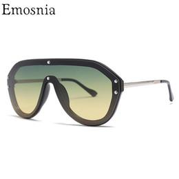 Gafas de sol italianas online-Emosnia Vintage Pilot Sunglasses 2019 Mujeres Hombres Gran Marco Sombra Gafas de Sol Diseñador de la Marca Italiana Top Fashion Eyewear Lunette
