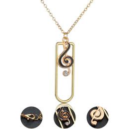 Musiknote vergoldeter halskette online-Legierung vergoldet music note anhänger halskette schwarz emaille musik fans modeschmuck geschenk schlüsselbein choker halskette für frauen geschenk