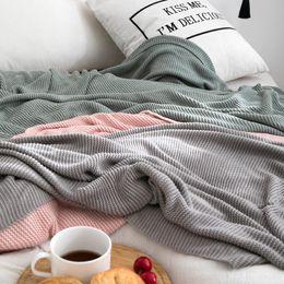 Canada Bambou doux lancer solide Couverture Adultes Crochet Fil Couvertures Tricotées Dormir Couvre-Lits Climatisation Blanke 130 * 160 cm Offre