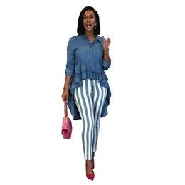 2019 longue chemise à basque Femmes Designer Demin Blouse Casual Femme Lapel Neck Chemises Printemps Slim Chemises avec Peplum Femme Irrégulier Vêtements longue chemise à basque pas cher