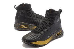 Свободные детские баскетбольные туфли онлайн-Мальчики Currys 4 черное золото детская обувь для продажи с коробкой новый Стивен Керрис Баскетбол обувь бесплатная доставка US4-US12