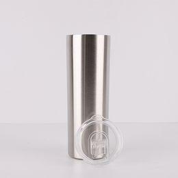 copos prateados Desconto 30 oz Copo Seco de aço inoxidável Macio Dupla walled copo sippy Vácuo Isolado garrafa de água tumbler reta com tampa FFA1989