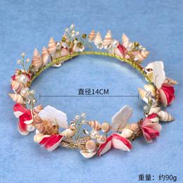 Tatlı Kırmızı gelin El Yapımı Boncuklu Kabuk Dantel tiara Corone taç seramik çiçek saç headdress cheap hair ceramic shells nereden saç seramik kabukları tedarikçiler