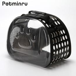 2019 supporti pieghevoli di gatto Petminru Trasparente Cat Carrier Bag Traspirante Pet Travel Handbag Pieghevole borse a tracolla all'aperto Puppy Travel Carrying Bags supporti pieghevoli di gatto economici