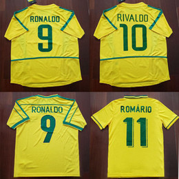 Camisa de 1994 on-line-1994 1998 2002 Brazil Soccer Jersey Ronaldo Ronaldinho Brasil Camisa de Futebol Rivaldo Retro Jersey Classic Shirts R.Carlos Romario BEBETO Camisa de Futebol