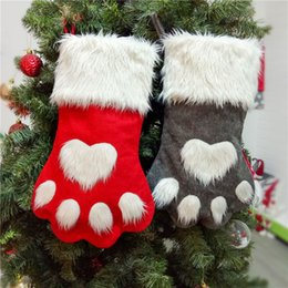 Weihnachtshund taschen online-New Christmas Dog's Paw Große Weihnachtssocken Rot und Grau Interieur Weihnachtsdekoration Geschenktüte T3I5114