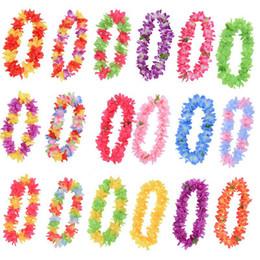 2020 grinaldas havaianas Havaiano Coroas Artificial colar de cor Multi-flores de seda para Garden Wedding Beach Party festiva Decoração Flor HHA1150 desconto grinaldas havaianas