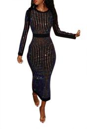 Длинное черное платье онлайн-Женщины партия горячего бурения Bling с длинным рукавом платье работа офис вечерняя вечеринка середины икры платье черный Vent Vestidos повседневная Dress NB-891
