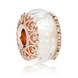 925 Sterling Silver Bead Rose Iridescent bianco vetro di Murano Charm Fit originale Pandora braccialetto Bangle donne gioielli fai da te regalo da