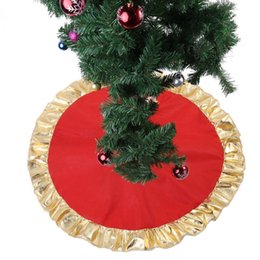 tabliers à volants Promotion 90CM Arbre de Noël rouge Jupe d'or Ruffle bord d'arbre tablier Ornements Décoration de Noël pour la maison Nouvel An Décoration