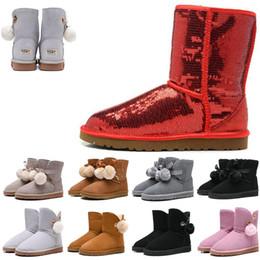 Laços de sapato rosa quente on-line-2019 venda mulheres quentes Botas sapatos de designer ouro cinzento branco rosa WGG luxo altas botas botas l treinador sapatos